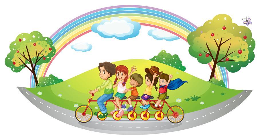 Un vélo avec beaucoup de pédales et de roues