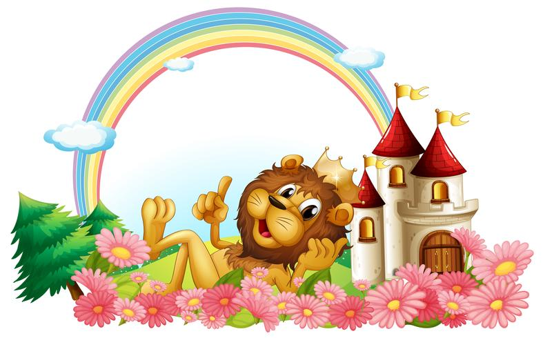 A lion wearing a crown beside the castle vector