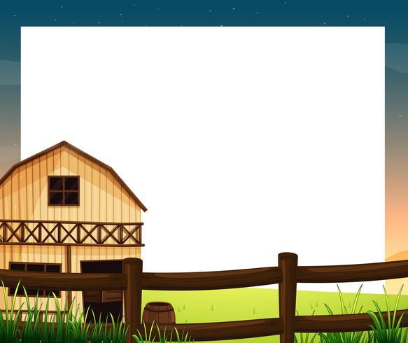 An empty template with a barnhouse and a fence vector