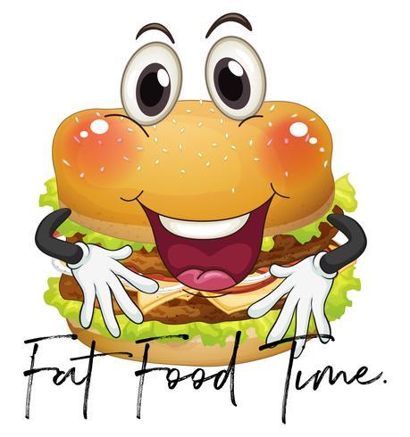 Frase la hora de la comida grasa con hamburguesa gigante