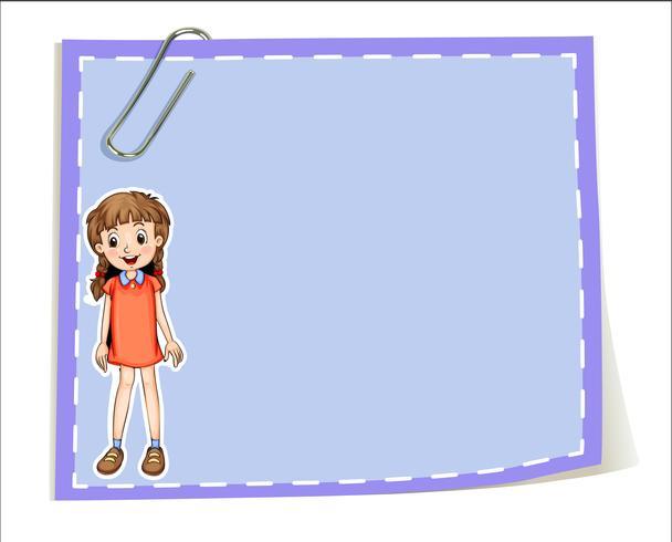 Un modello di carta vuoto con una ragazza sorridente