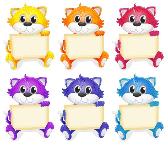 A group of cats with empty signboards vector