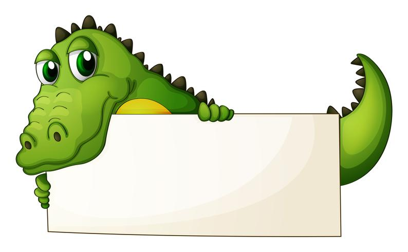 A crocodile holding an empty signage