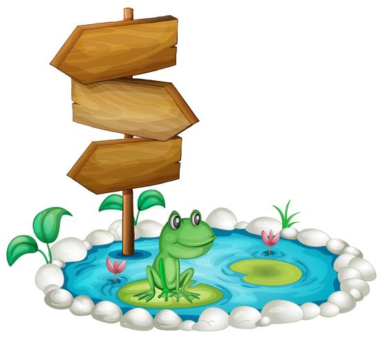 Frog and wooden sign at the pond vector