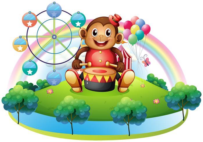 Un singe musical près de la grande roue