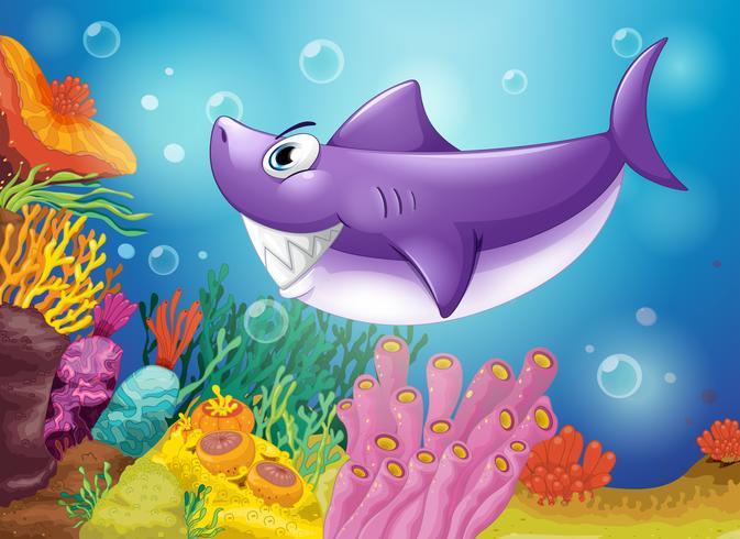 En leende violett haj under havet