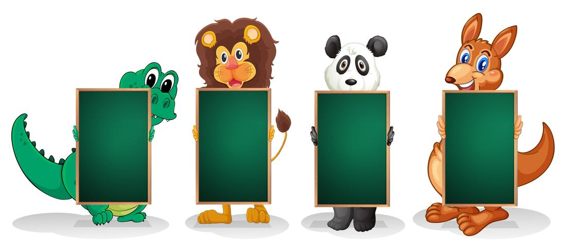 Cuatro animales formando una línea con pizarras vacías.