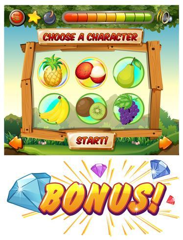 Modello di gioco con caratteri di frutta fresca