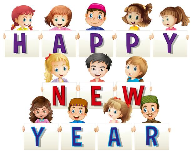Kids holding happy new year cards vector