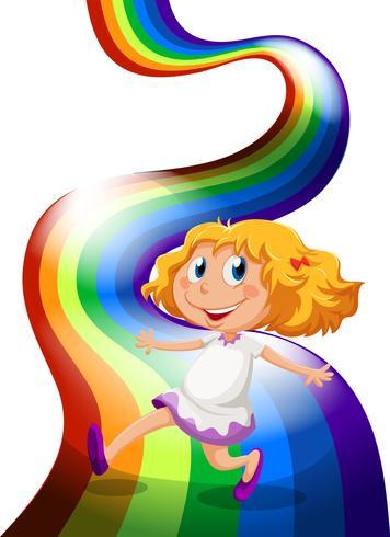 Una niña jugando en el arco iris