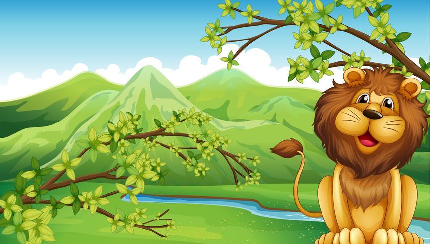 Um leão e uma montanha