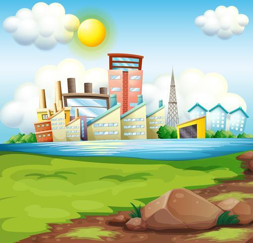 Fabbriche vicino al fiume