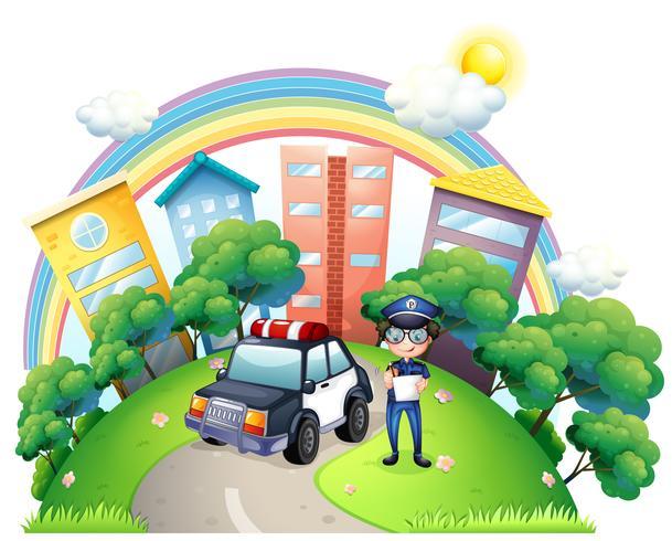 Een handhaver met zijn auto op de weg