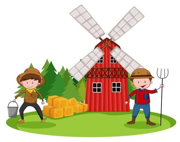 Farmers and barn vector