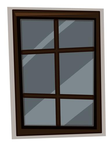 Window with wooden frame vector