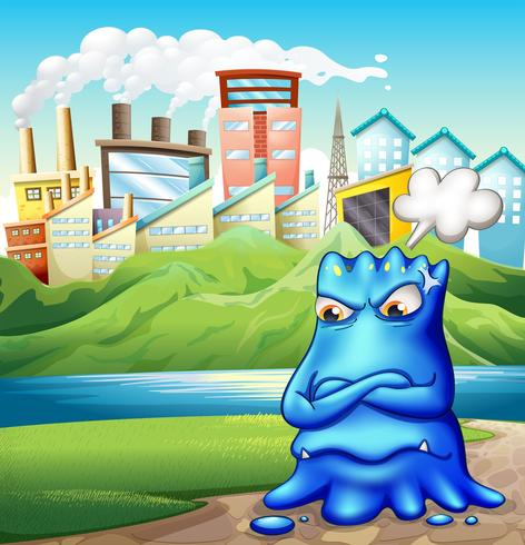 An angry fat blue monster in the city vector