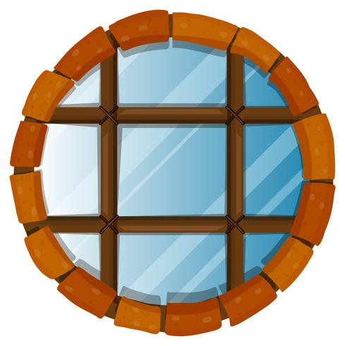 Window with round bricks on border