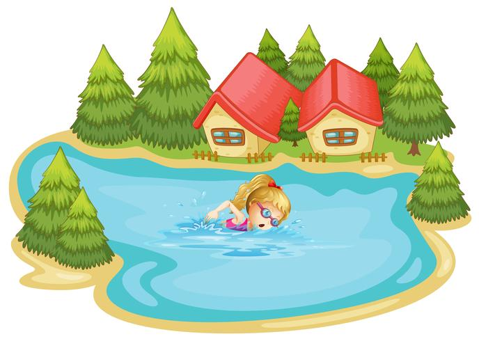 A girl swimming near the pine trees