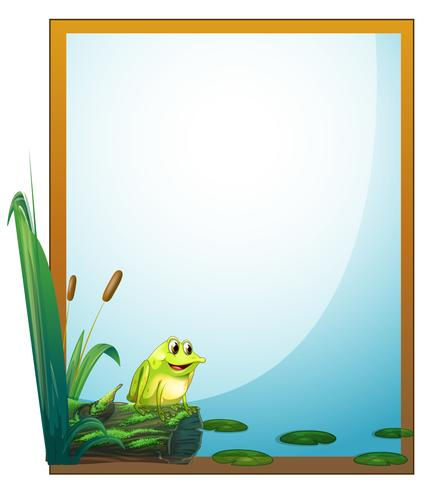 A frame with a frog in the pond vector