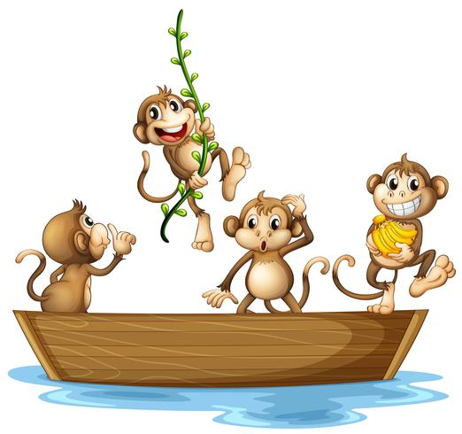 Monkeys on boat vector