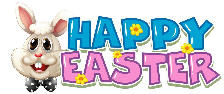 Joyeuses Pâques affiche avec lapin blanc vecteur