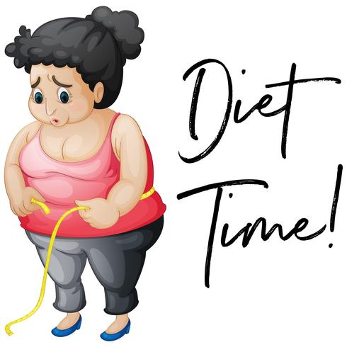 Chica con sobrepeso con tiempo de dieta frase