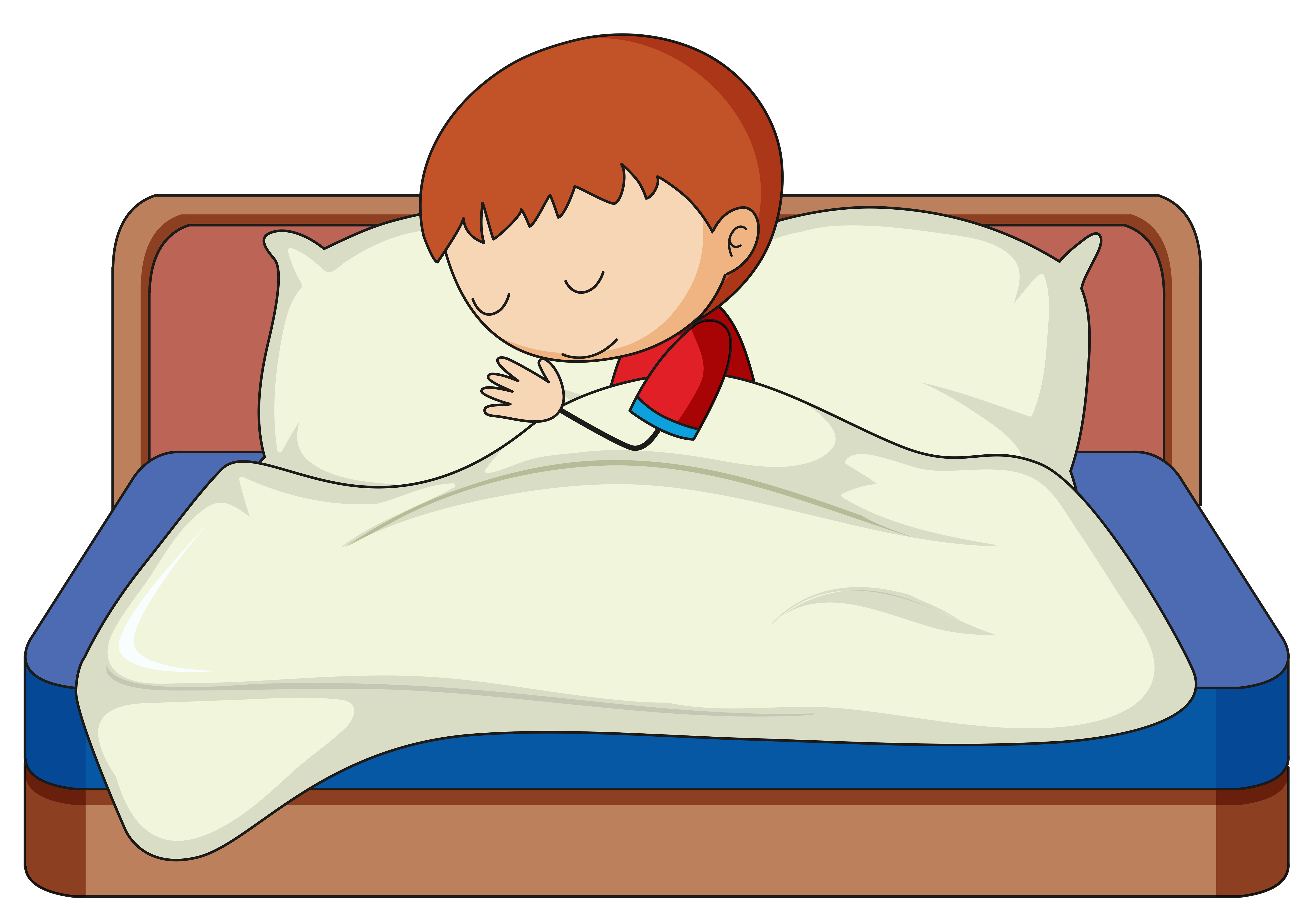 A boy sleeping on the bed - Download Free Vectors, Clipart