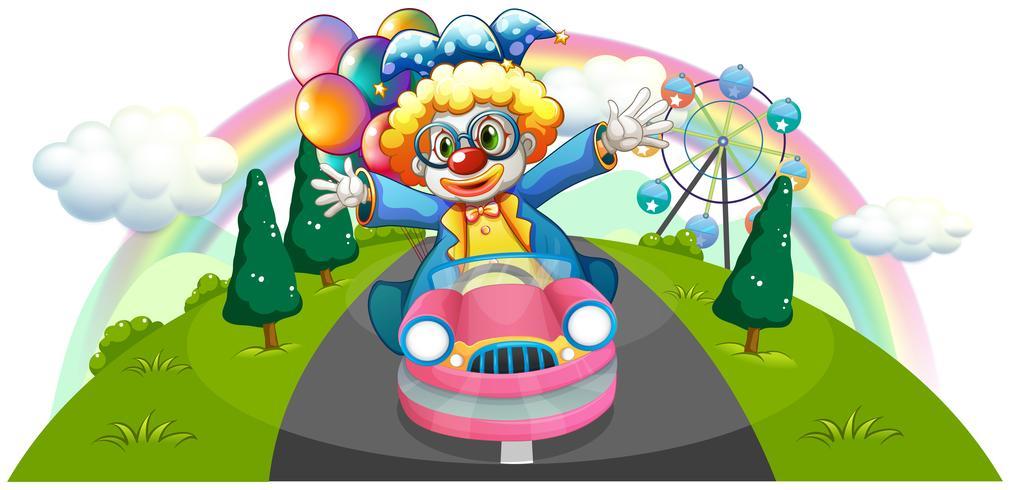 Un clown in sella a una macchina rosa con palloncini