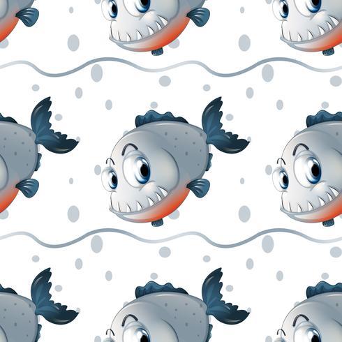 En tapetdesign med stora fiskar