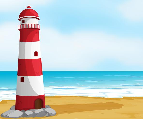 Sea and light house vector