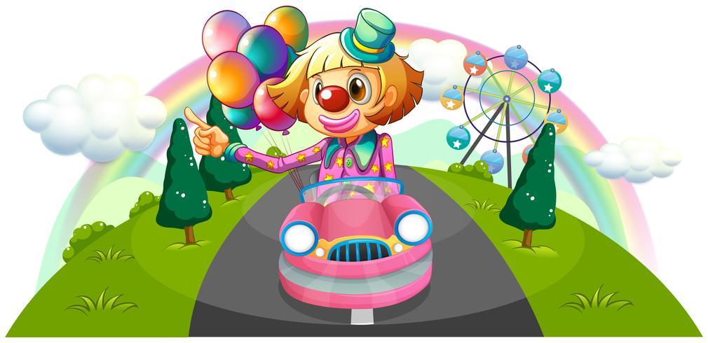 Een roze auto met een vrouwelijke clown