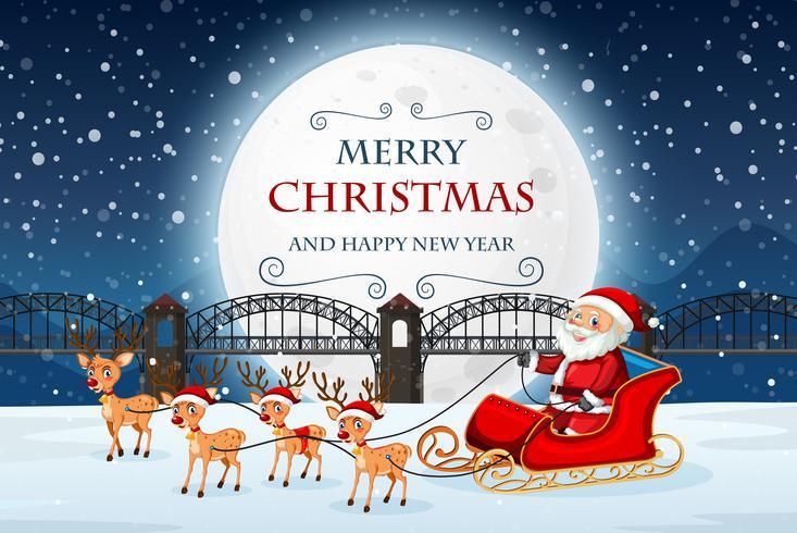 Santa on merry Christmas template vector