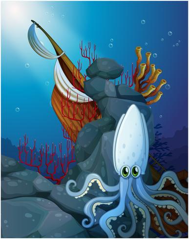 Eine Krake unter dem Meer nahe dem hölzernen Boot