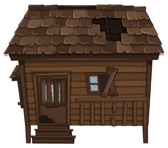 Wooden house with ruined condition vector