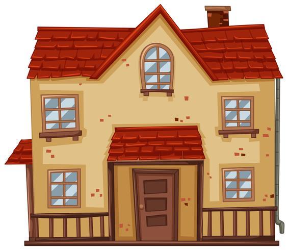 Vecchia casa con tetto rosso