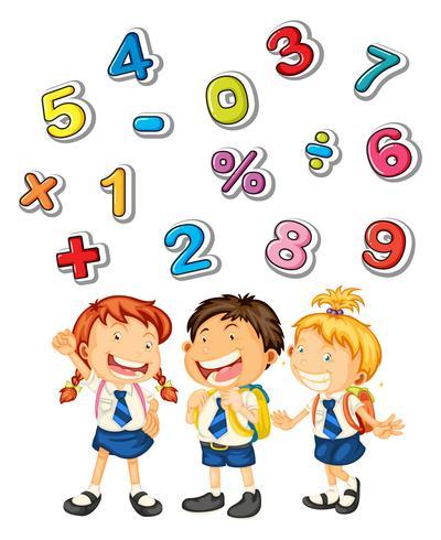 Schoolkinderen en veel nummers