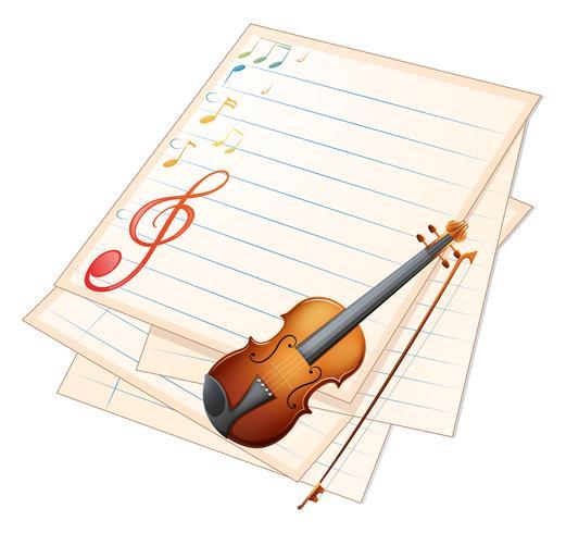 Un papel vacío con un violín y notas musicales.
