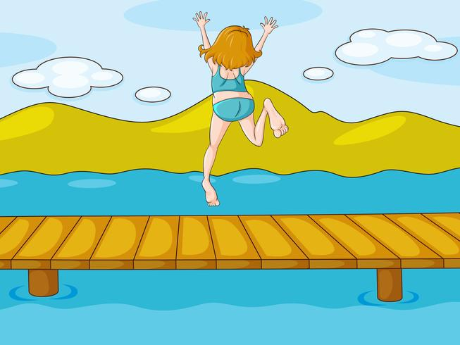a girl and water vector