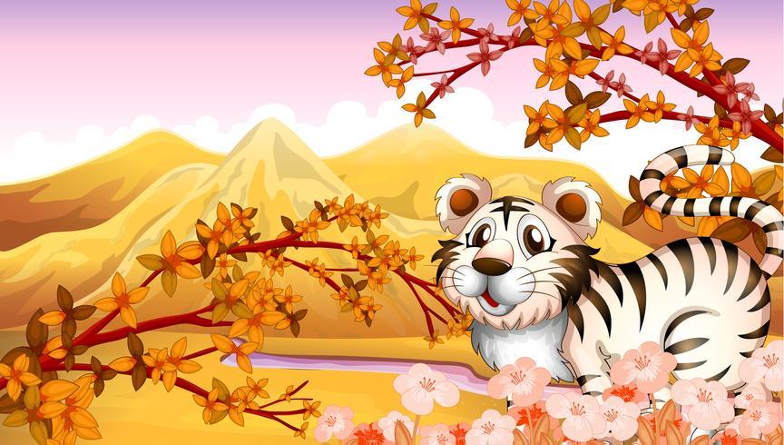 Una vista de otoño con un tigre.
