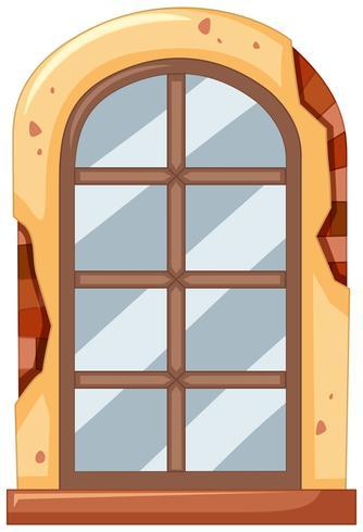 Fenêtre sur brique mur