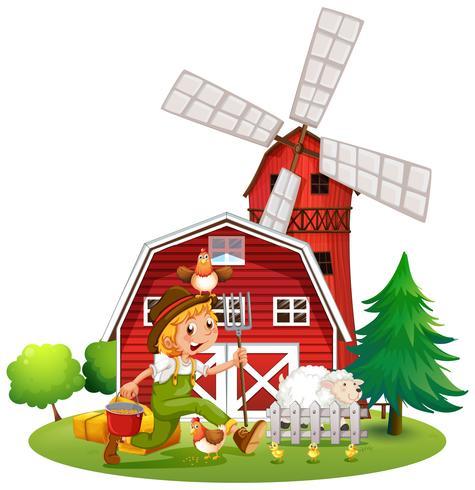 Agriculteur à la ferme avec des moutons et des poulets