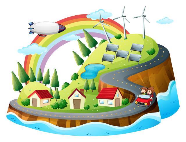 A colorful village vector