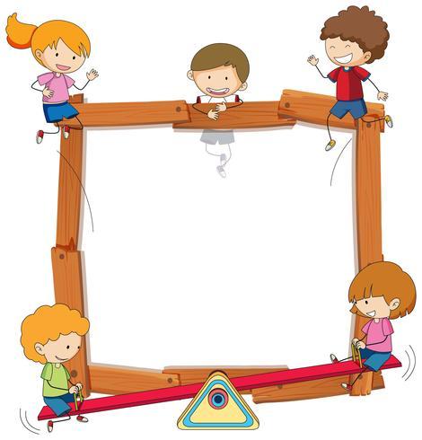 Griffonner les enfants sur cadre en bois