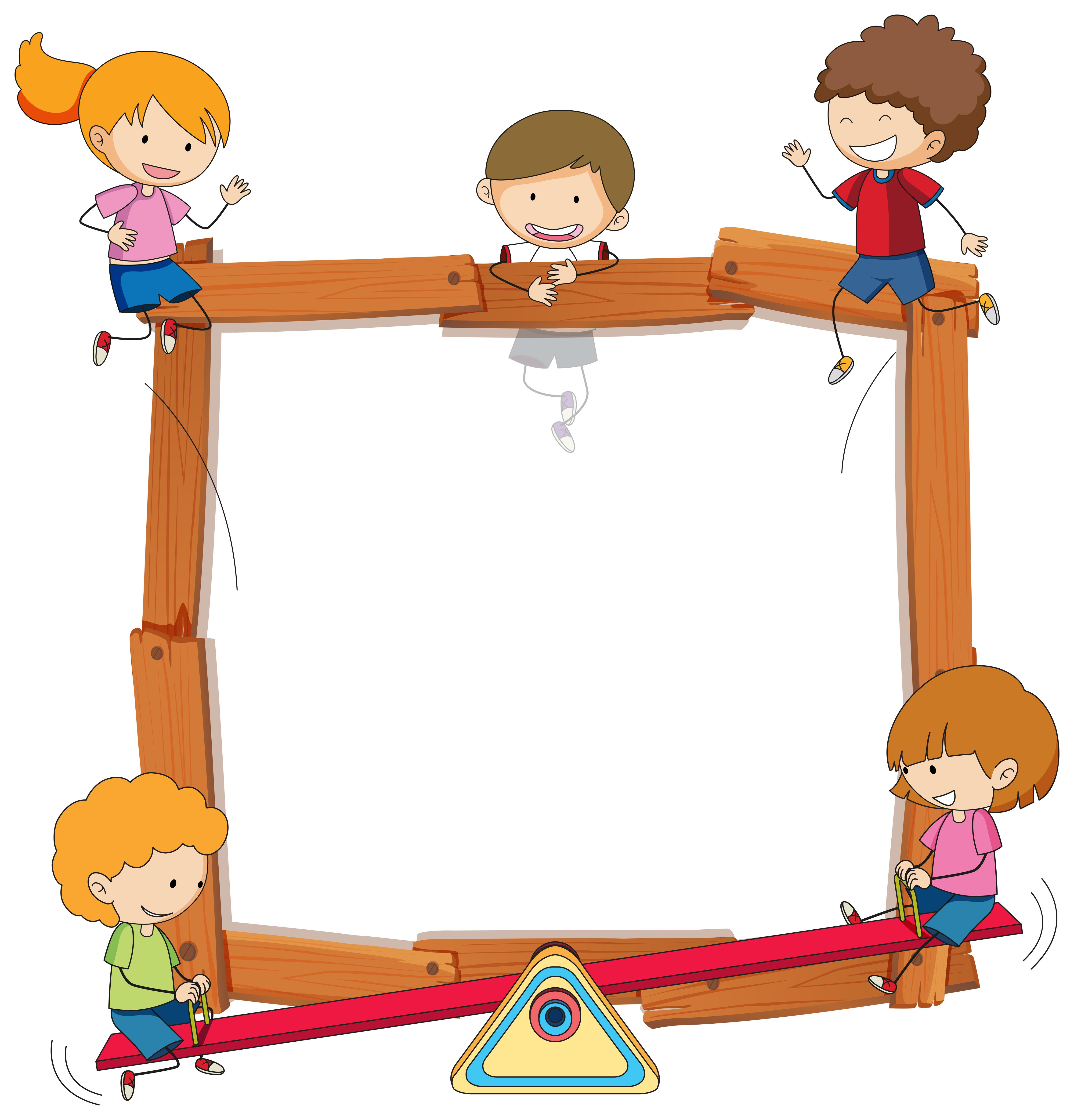Doodle kids on wooden frame - Download Free Vectors ...