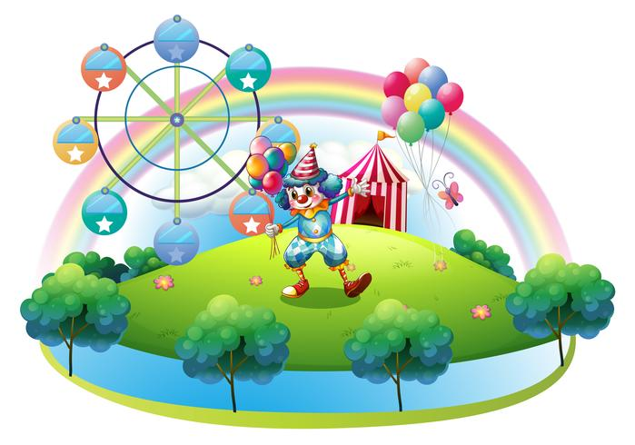 A clown with balloons at the carnival in the island vector