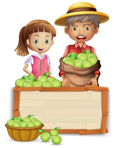 Agricultor, com, lima, ligado, tábua madeira