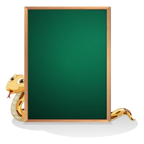 Een slang aan de achterkant van een leeg bord