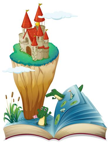 An open book with an image of a castle in an island vector
