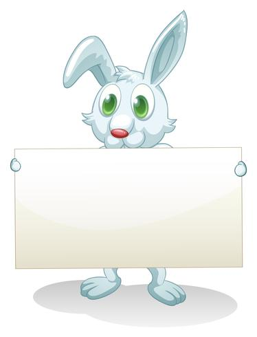 A bunny holding an empty banner
