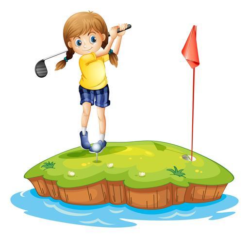 Een eiland met een jong meisje golfen